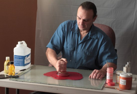 Steven making paint